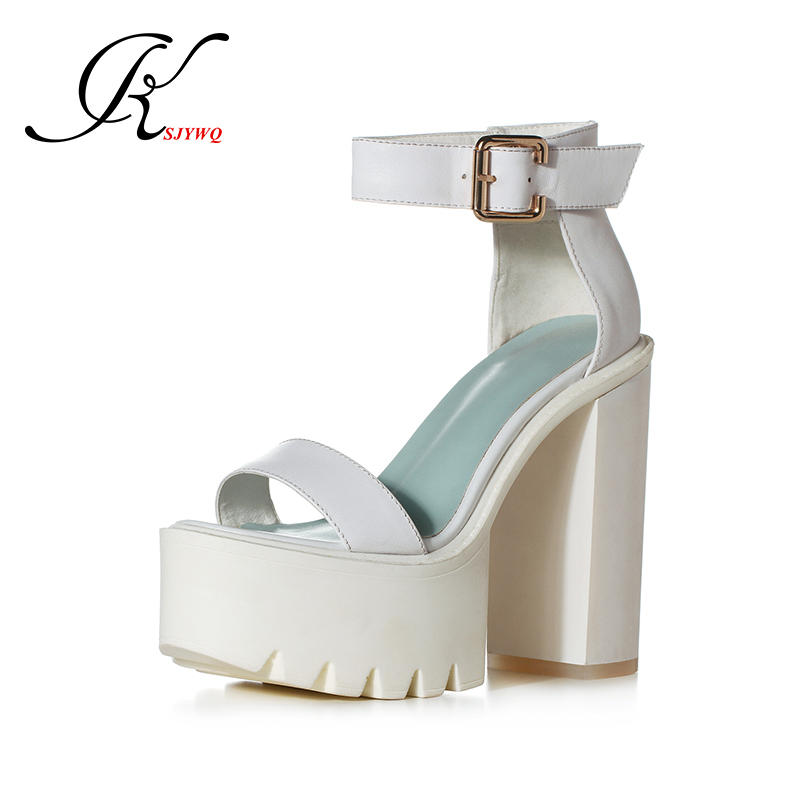 ФОТО 2017 Super High heels 13 cm Chunky heel Genuine leather White Platform Sandals for Women Sexy open-toe Pumps Box Packing 55-36