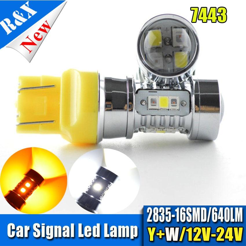 2PCS 12-24V T20 16SMD 2835 7443 High Power Car Trunk Dual Color White/Amber Switchback LED Parking Light Turn Signal Light Bulb