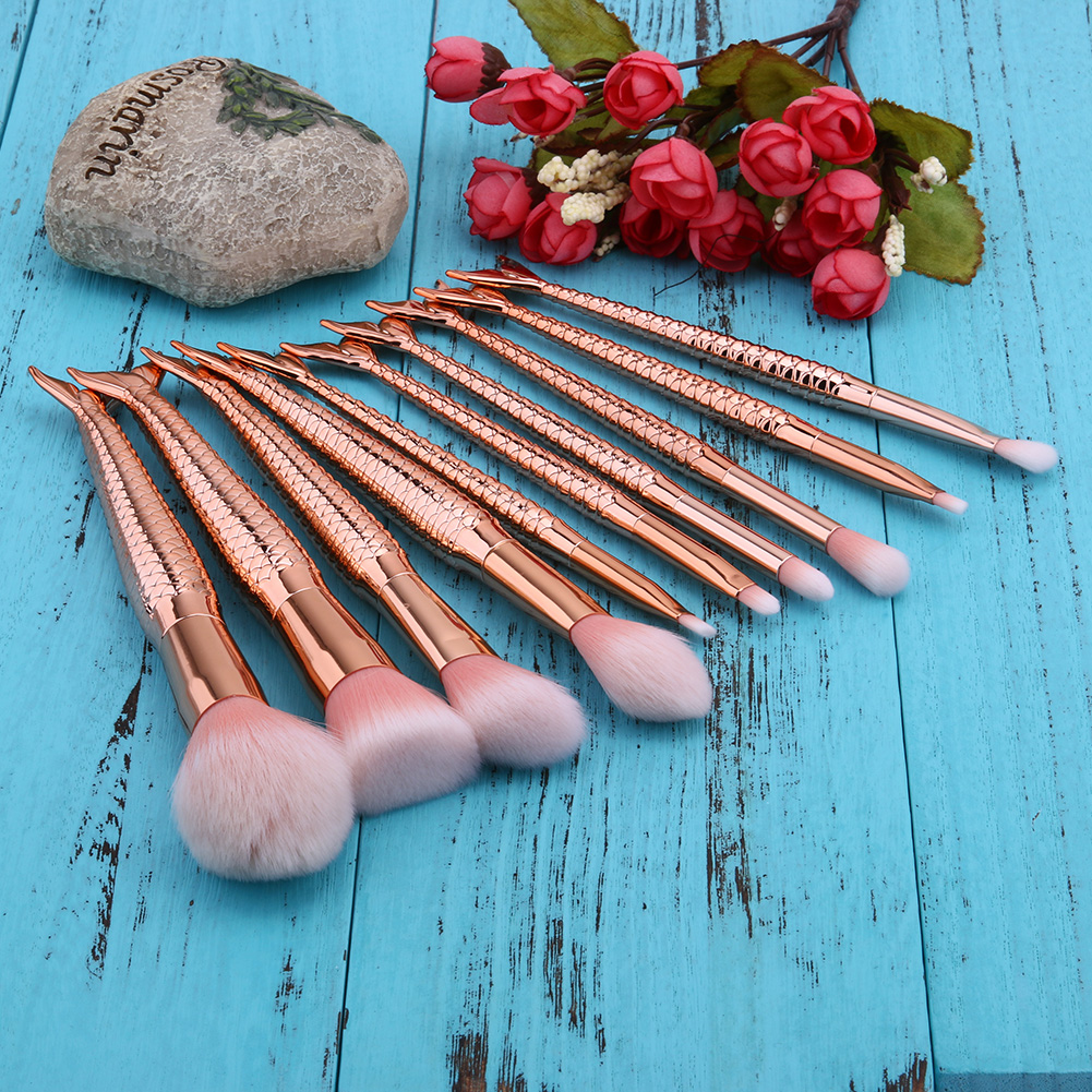 10PCS Pro Makeup Brushes Set Foundation Blending Powder Eyeshadow Contour Concealer Blush Comestic Beauty Make Up Kits Hot New