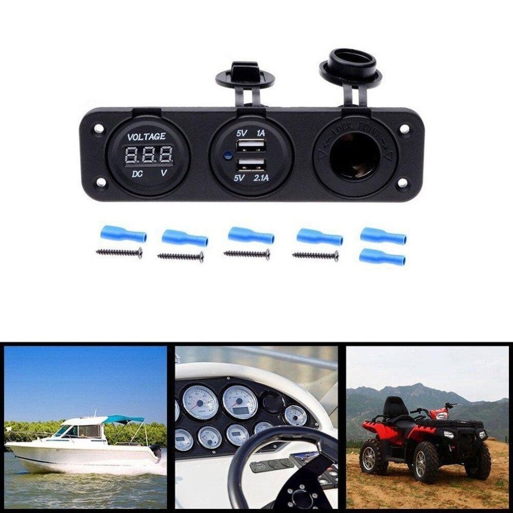 Image 5 - 12V Dual USB Charger Socket & LED Voltmeter 3 Hole Panel Outlet Car Boat Marine-in Cigarette Lighter from Automobiles & Motorcycles