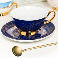 British Style Bone China Coffee Cup With Spoon Gold Afternoon Tea Cup Saucer Set Coffee Cup Set Bridesmaid Gift Free Shipping