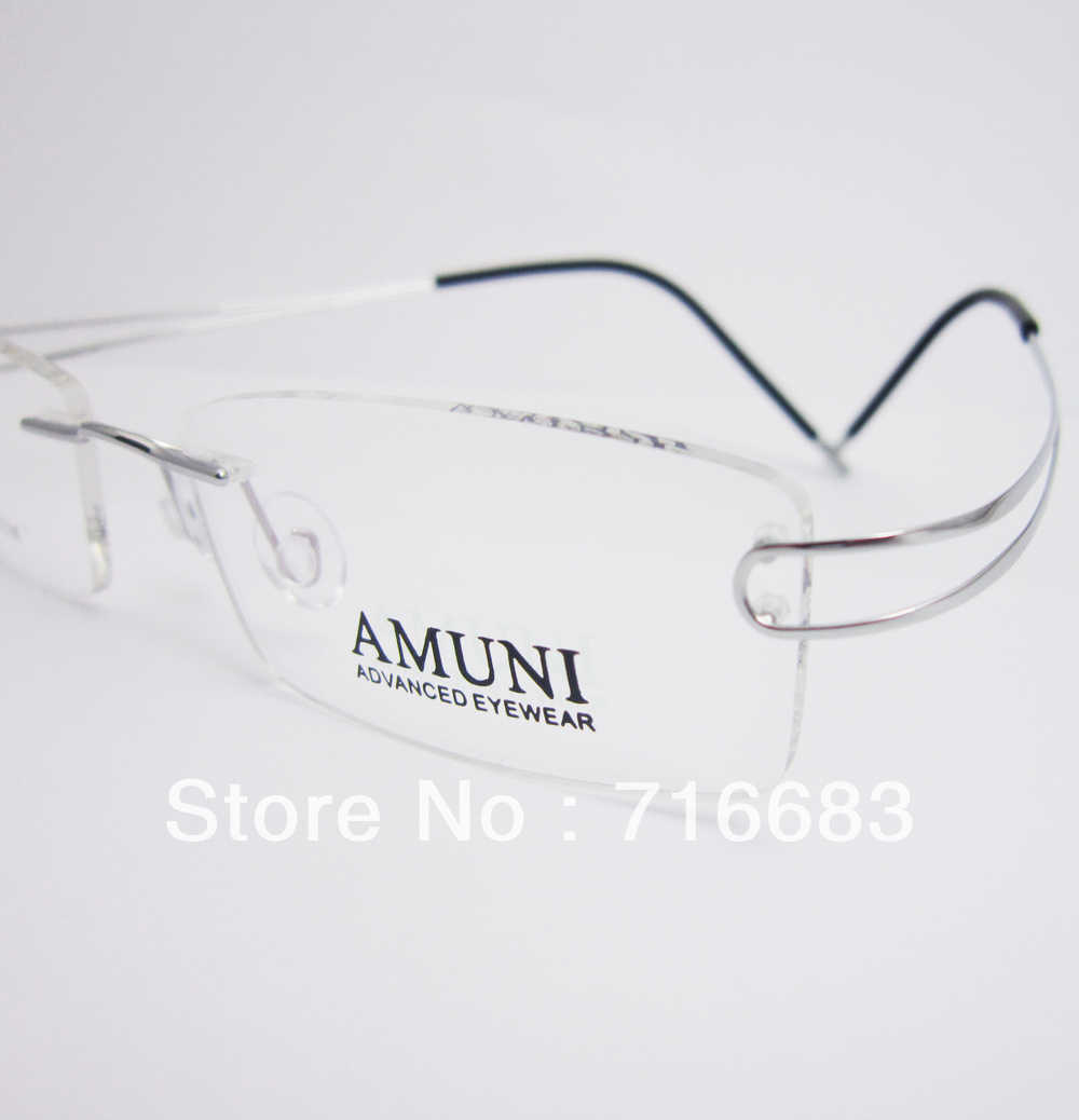 9f6e28d770 Luxury 100% Pure Titanium Silver Black Gun Grey Gunmetal Coffee Brown  Rimless Flexible Eyeglass Frames