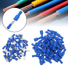 100PCS 16-14AWG Insulated Spade Crimp Wire Cable Connector Terminal Male/Female Kit 50pair Blue  for Audio