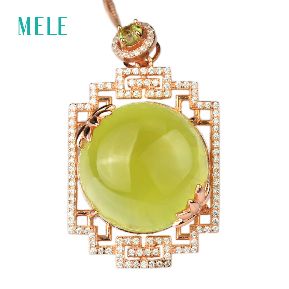все цены на MELE Natural yellow prehnite silver pendant , round 20mm, big stone and special pendant design, good quality pendant for women онлайн