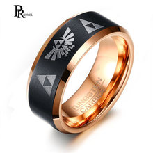 Cool The Legend of Zelda Ring Men 8MM Tungsten Carbide Pink Gold and Black Color Finger Rings with Triforce Logo(China)