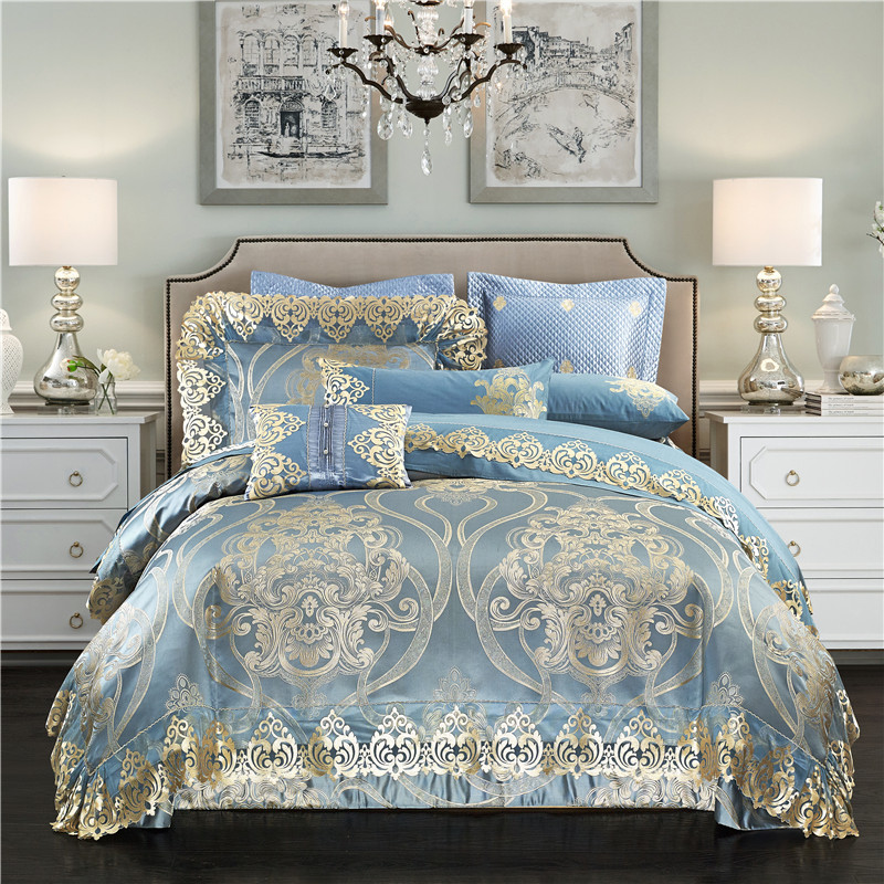 Chinese Embroidery Bed Sheet Set Bule Jacquard Luxury Royal Bedding Sets Queen King Size Duvet Cover Bed Spread Pillowcases