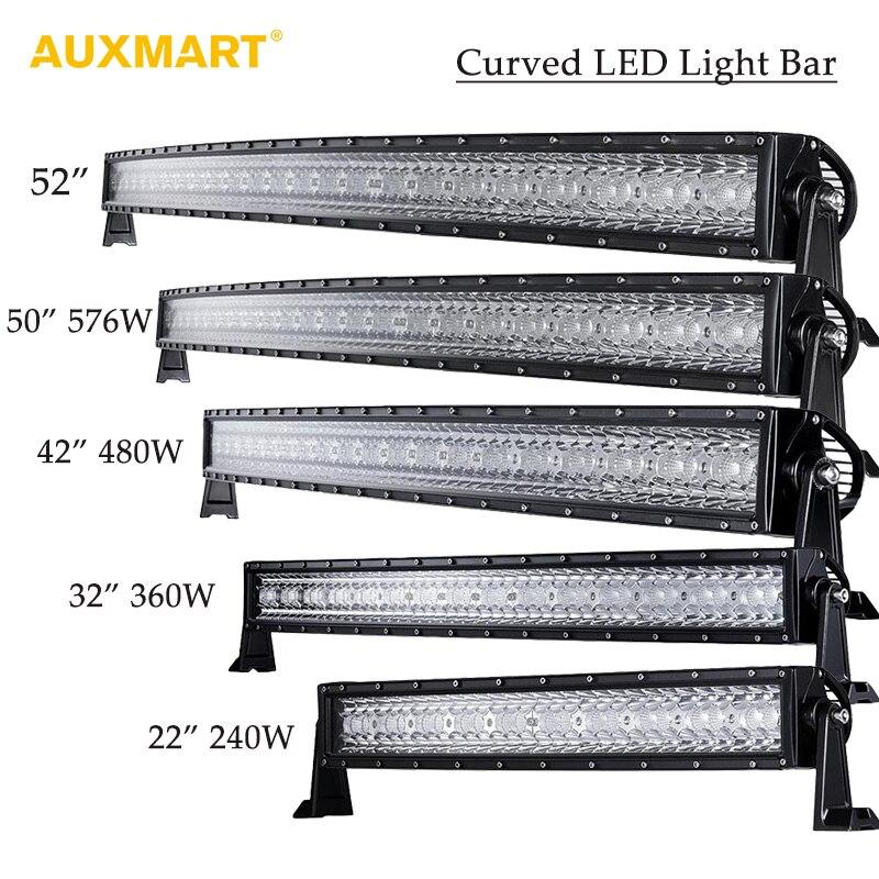 Auxmart Tri Row 14 22 32 42 52 50 Curved LED Light Bar Offroad Combo Beam Bar Light Truck Trailer 4X4 4WD ATV SUV 12V 24V