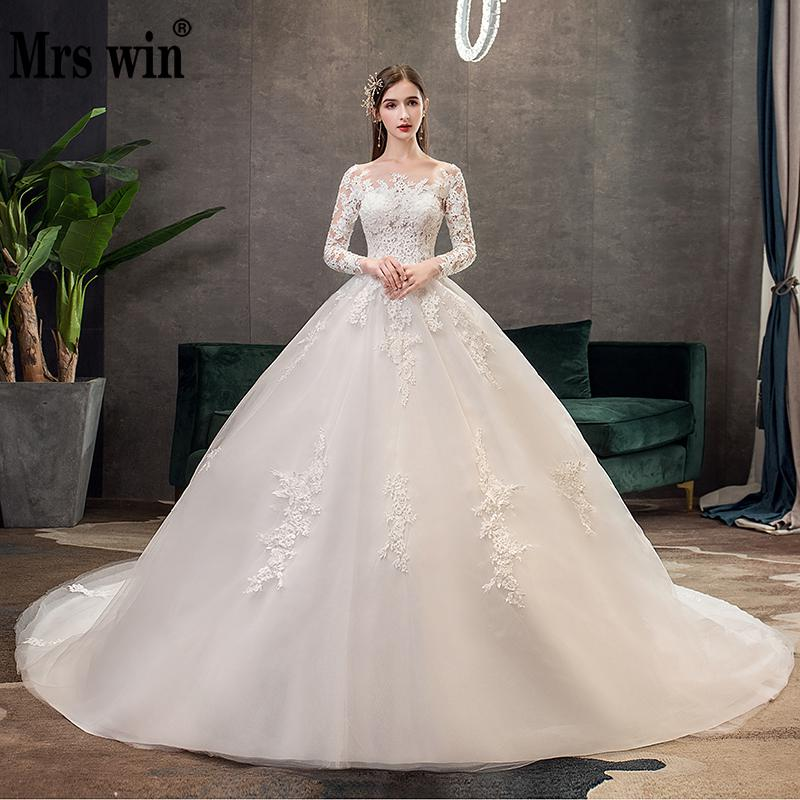 Full Sleeve Wedding Dresses 2021 Lace New Luxury Muslim Ball Gown Wedding...