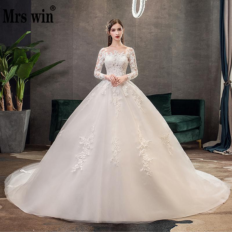 Mrs Win Full Sleeve Wedding Dresses 2020 Lace New Luxury Muslim Ball Gown Wedding Dress Custom Made Vestido De Noiva X