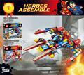 DC comic 2em1 Super navio de guerra Relâmpago Lutador building block super heroes superman flash mini blocos compatíveis LEPIN ir