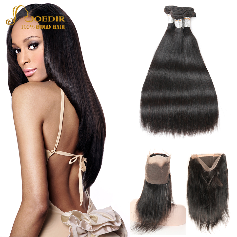 Joedir Hair Pre Plucked 360 Lace Frontal with Bundle Peruvian Straight Human Hair 2 3 4 Bundles With Closure Non Remy Hair Weave