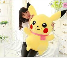 huge plush lovely pikachu toy big cute yellow pikachu doll with pink scraf gift about 85cm