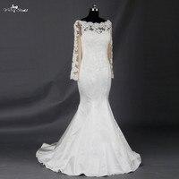 Long Sleeve Boat Neck Vintage Lace Mermaid Satin Wedding Dess Sheath Dress For Wedding Bride Dresses