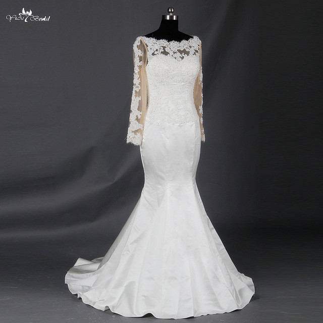 RSW728 Boat Neck Vintage Lace Mermaid Satin Wedding Dess Long Sleeve Lace Wedding Dresses