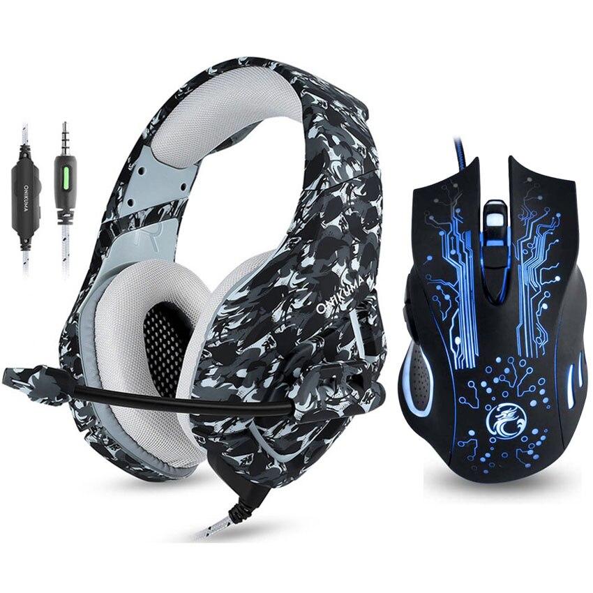 ONIKUMA K1 camuflaje PS4 auriculares Casque bajo juego de auriculares con micrófono + 7 botones 5000 dpi de retroiluminación LED Pro Gaming ratón