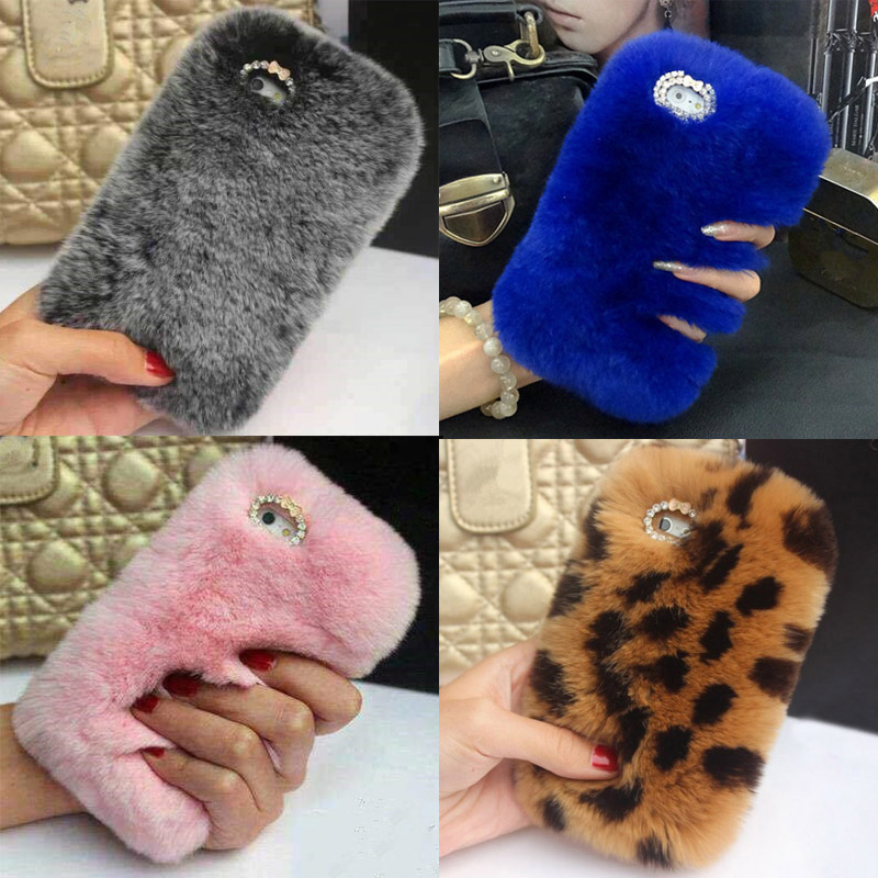Real Rabbit Fur <font><b>Phone</b></font> <font><b>Case</b></font> for <font><b>OPPO</b></font> R9 R9s R11 R11s Plus R15 R17 Pro A3 <font><b>A3s</b></font> A5 A7 A9 Bling Plush Furry Diamond Cover Coque Funda image