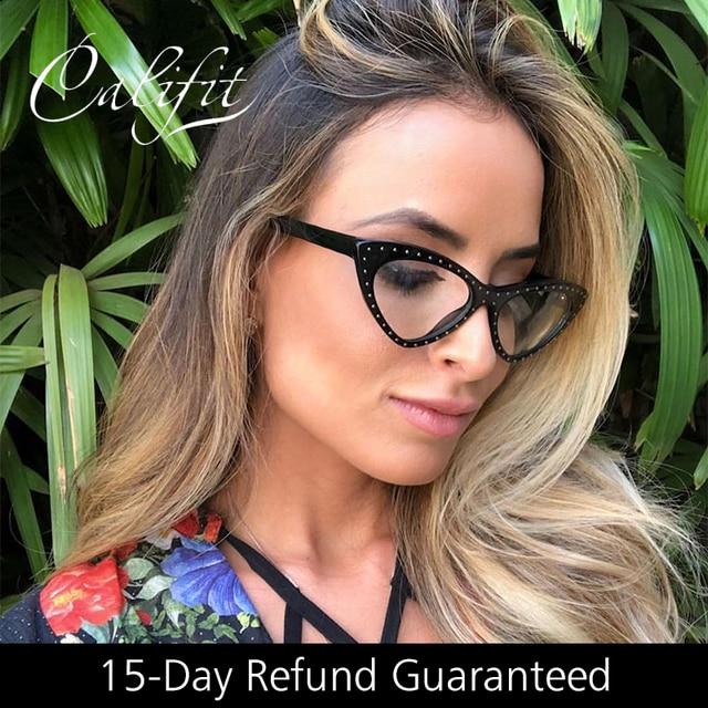 b87708a405d CALIFIT Rivet Vintage Women Eyeglasses Brand Design Cat Eye Clear Lens Optical  Glasses Frame Women Spectacles 2018 New Retro