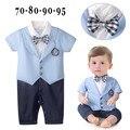 2016 новый мальчик ползунки джентльмен плед галстук-бабочку ребенка комбинезон малыша дети комбинезон детская одежда roupa infantil