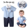 2016 new baby boy romper gentleman plaid bow tie baby rompers toddler kids jumpsuit infant clothing roupa infantil