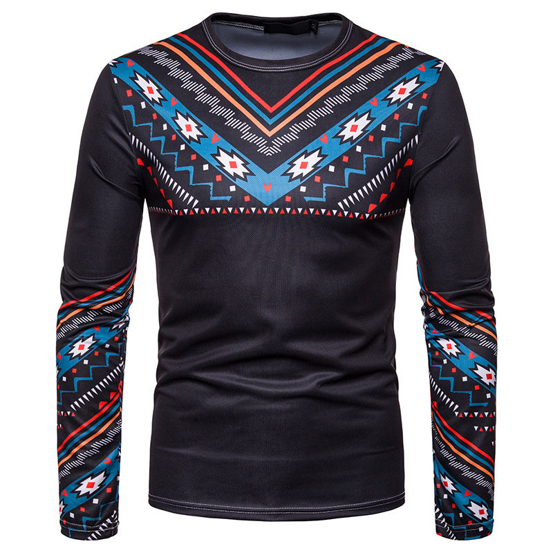 African Men Dashiki Print Multi-Color Print Wear Pullover Round Neck Collarless Shirt Male Black Slim Folk Top For Men Plus Size