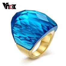 Vnox grandes anillos de piedra de cristal grande para las mujeres chapado en oro de acero inoxidable de metal femenina caja de regalo libre