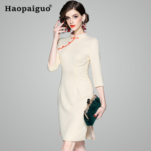 цена на 2019 New Year Solid Chinese Women Traditional Dress Improved Cheongsam Mini Sexy Qipao Brief Vintage Dress Size S M L XL XXL