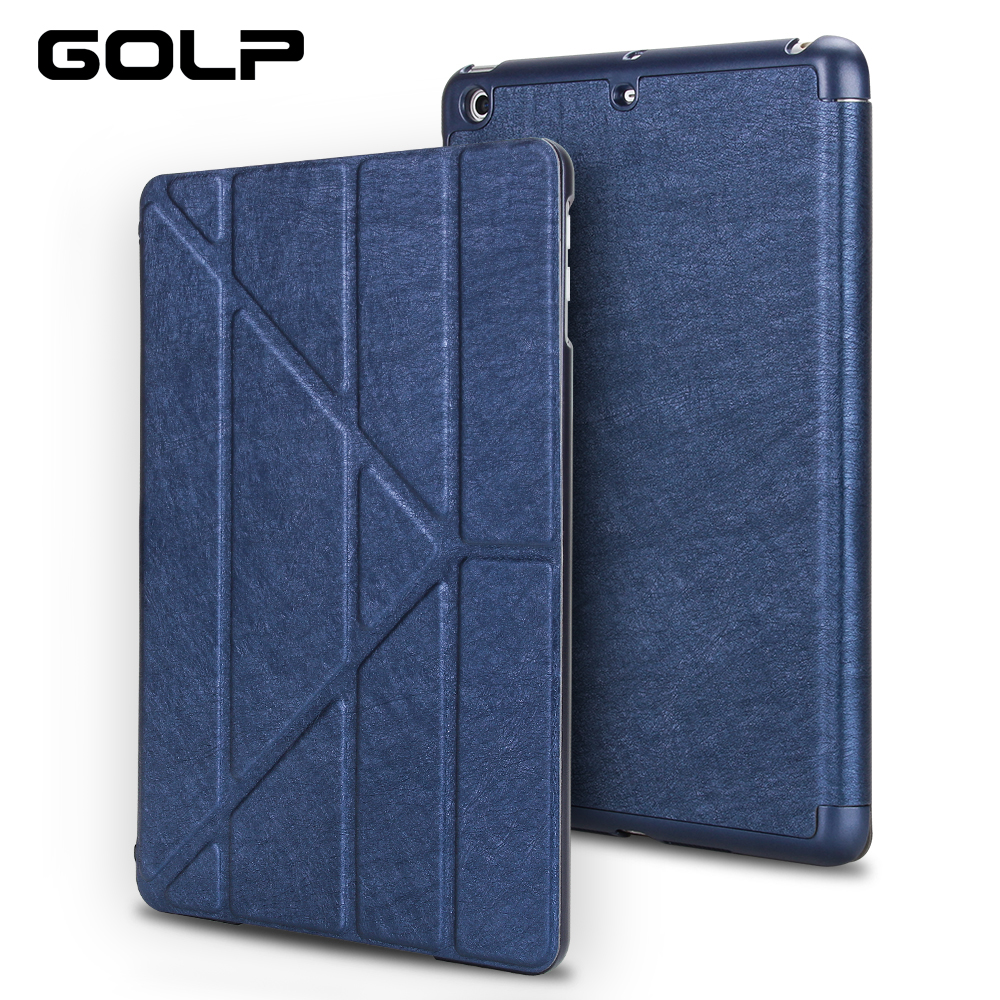 for ipad air 2 case, GOLP PU leather for iPad air 2 cover, PC back case for iPad Air 2 , Flip case and smart cover for ipad 6 protective flip open pu leather smart case for ipad air 2 dark blue