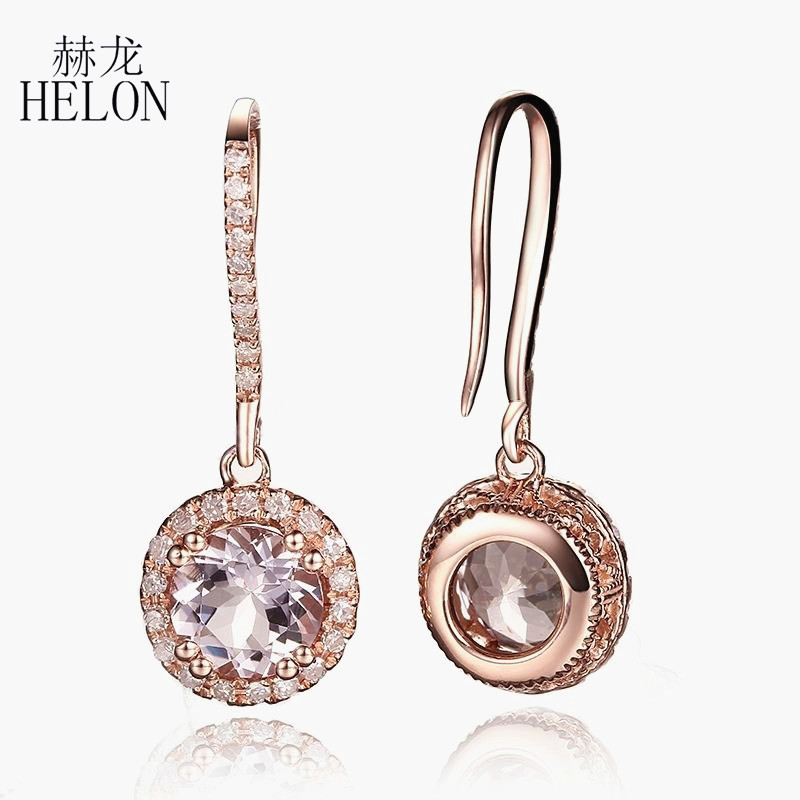 HELON 6mm Round 1.6ct Morganite Earrings Solid 14K Rose Gold Engagement Fine Natural Diamond Drop Earrings Hook Dangle Earrings free 6 cuffs contec manufacturer shipping abpm50 24 hours ambulatory automatic blood pressure monitor nibp ce approved