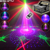 ESHINY Mini 5 Lens RGB Laser 128 Patterns Projector Blue Led Club Bar DJ Disco Xmas Dance Party Stage Effect Light Show N60T163