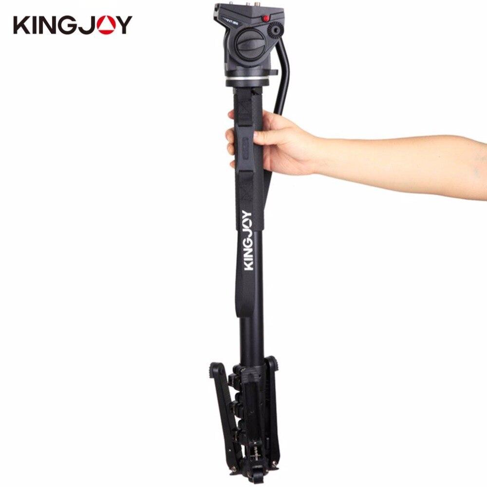 KINGJOY MP4008F+VT-3510 Professional Camera Tripod Folding Monopod Kit Stable Rotating Shooting Monopod with Fluid Pan Head цена