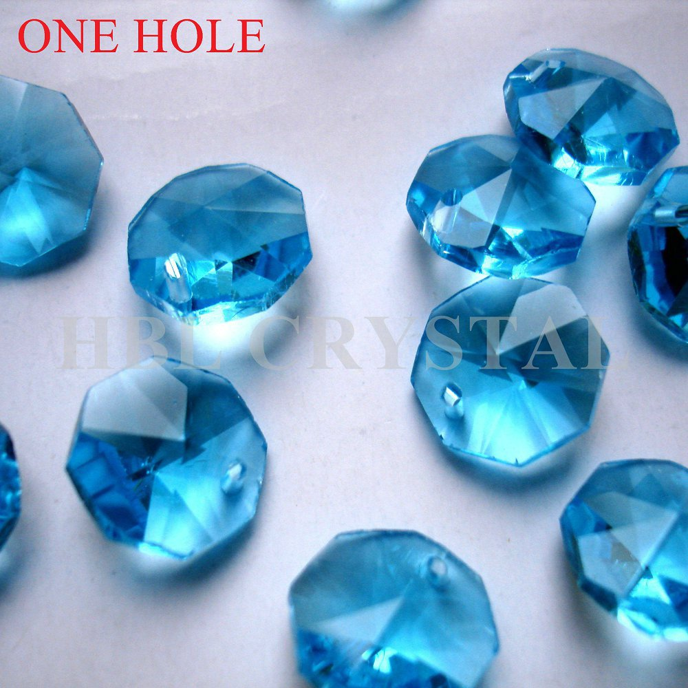 100pcs/lot 14mm aquamarine crysta octagon beads in one hole free shipping! wedding Garland strand beads dress