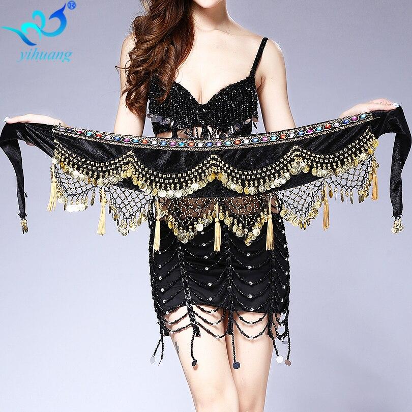 Belly Dance Costume Hip Scarf Indian Dancer Belt Belly Dancing Hipscarf Gold Conis Bellydance Wrap Skirt Velvet Performance