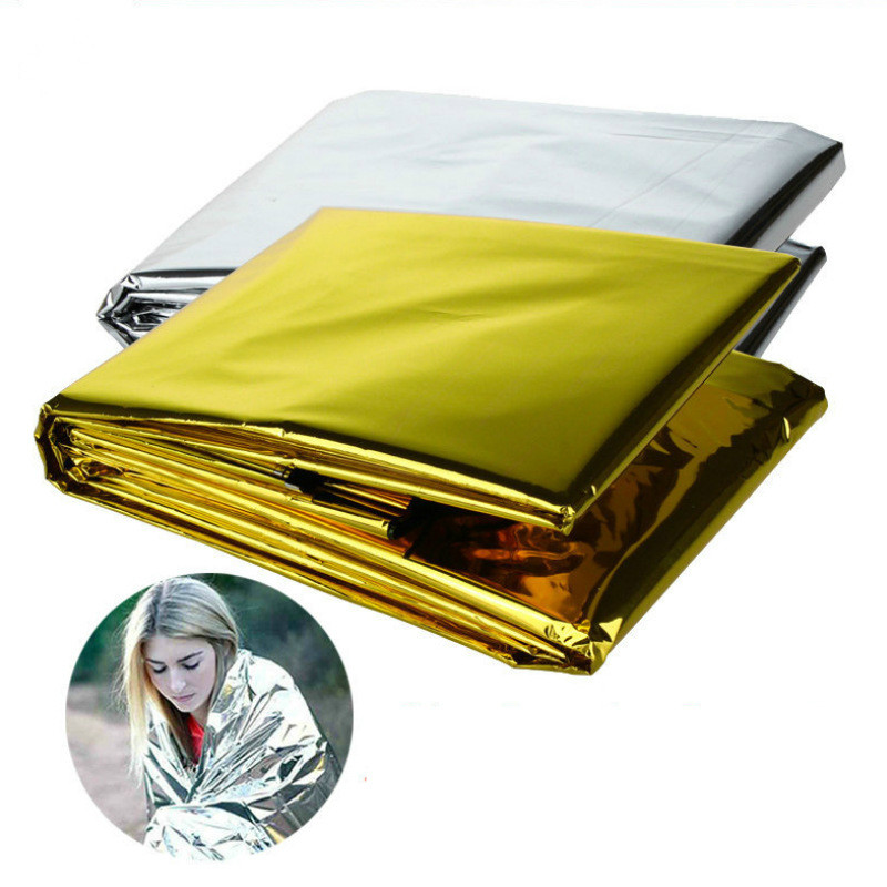 160*210CM First Aid Gold Rescue Curtain Military Blanket Outdoor WaterProof Emergency Survival Rescue Blanket Foil Thermal Space