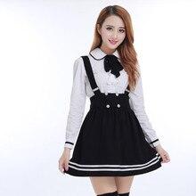Японская школьная форма для девочек студентов класса, милая Одежда для девочек плюс размер темно-синяя юбка с лямками+ белая рубашка+ чулки 3 шт./компл