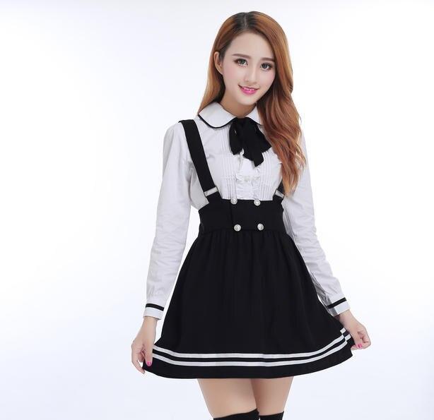 Korean School Uniform Girl Students Cosplay Costumes Japanese School Class Uniform Cotton Shirt + Straps skirt suit 2 Pcs / Set leather jacket