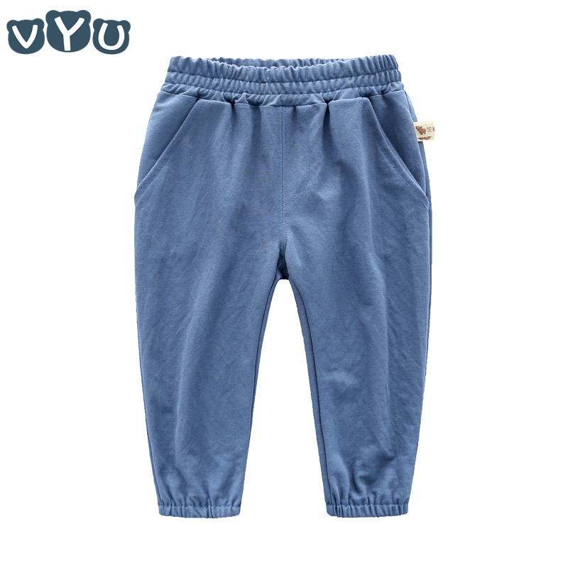 VYU 2~10 Yrs Boys kids Pants 2018 Summer Cotton Long Pants Baby Solid Color Elastic Pants Breathable Good Quality