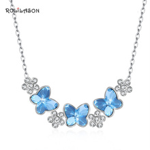 Small Fresh Butterfly Shape 925 Sterling Silver Blue Zircon Necklace Pendant Anniversary Gift SP76
