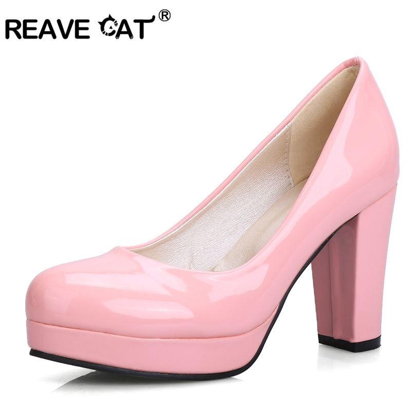 94ae087fd10 REAVE CAT Round toe High platform Women high heels pumps Big size 32-43  Spring Autumn Party Shoes women Thick heels RL2135