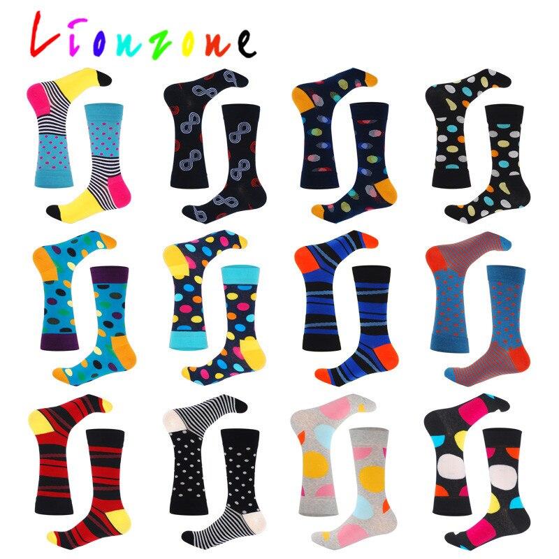 LIONZONE 2018 Hot Happy Socks Unisex Men Women With Stripes Design Cotton Colorful Dots Stripes Socks Crew Socks Funny Gift