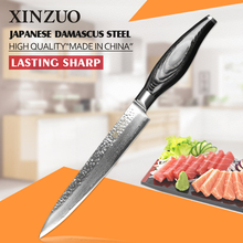 2016 NEW XINZUO 8 inch cleaver knife woman chef knife Sharp Japanese Damascus kitchen knife with Color wood handle free shipping