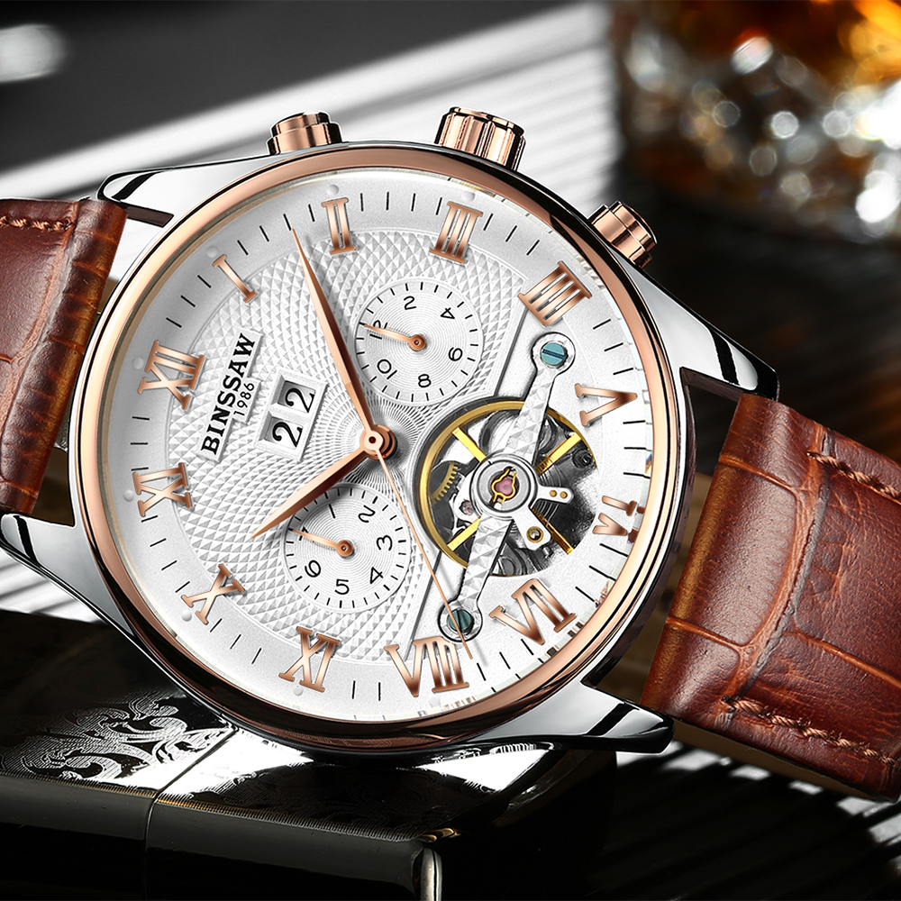 KINYUED Perpetual Calendar Mechanical Skeleton Watches Men Automatic Mens Tourbillon Watch Rose Gold Waterproof Relojes Hombre kinyued automatic skeleton watch men waterproof perpetual calendar self wind tourbillon mechanical watches erkek mekanik saat
