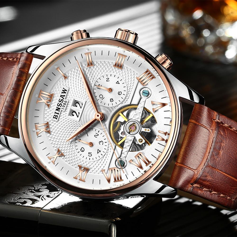 KINYUED Perpetual Calendar Mechanical Skeleton Watches Men Automatic Mens Tourbillon Watch Rose Gold Waterproof Relojes Hombre