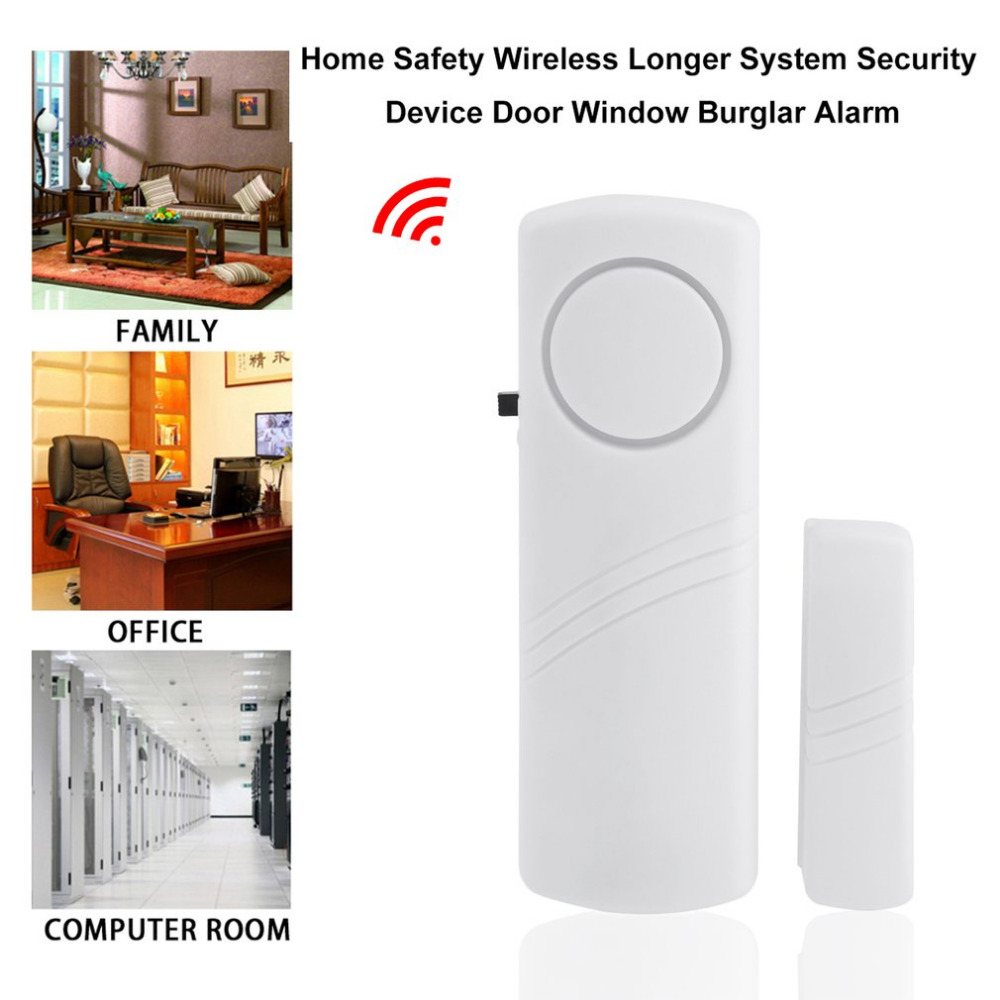 Door Window Wireless Burglar Alarm with Magnetic Sensor Home Safety Wireless Longer System Security Device 90dB White Wholesale 100db wireless alarm system burglar safely security window door home magnetic sensor best promotion