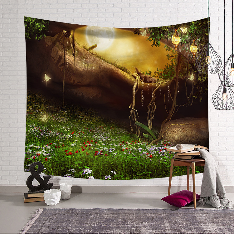Image 3 - CAMMITEVER Blue Green Woods Forest Natural Scenic Tapestry Beautiful Sight Printed Wall Hanging Tree Natural Scenery Tapestry-in Tapestry from Home & Garden