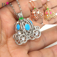 REYOW Wholesale 10pcs With 30 Chain Crystal Pumpkin Carriage Pendant Aromatherapy Essential Oil Diffuser Locket Necklace