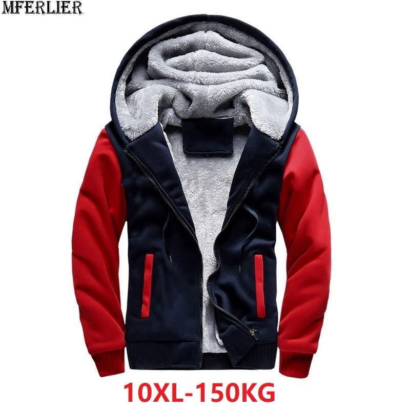Men Parkas Jackets Coat Sweatshirts Hooded Hoodies Thick Warm Fleece Large Size Big 5XL 8XL 9XL 10XL Winter Warm Sweatshirts Red