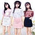 Plus size saias das mulheres vestido de verão 2016 estilo coreano do vintage saia feminina mini rosa branco preto Uma palavra saias jeans A0436
