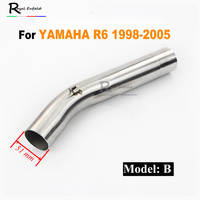 NEW For Yamaha R6 2006 2014/1998 2005 Motorcycle Exhaust Link Pipe Middle Mid Connecting Tubes Slip on 51mm Motorbike Exhaust