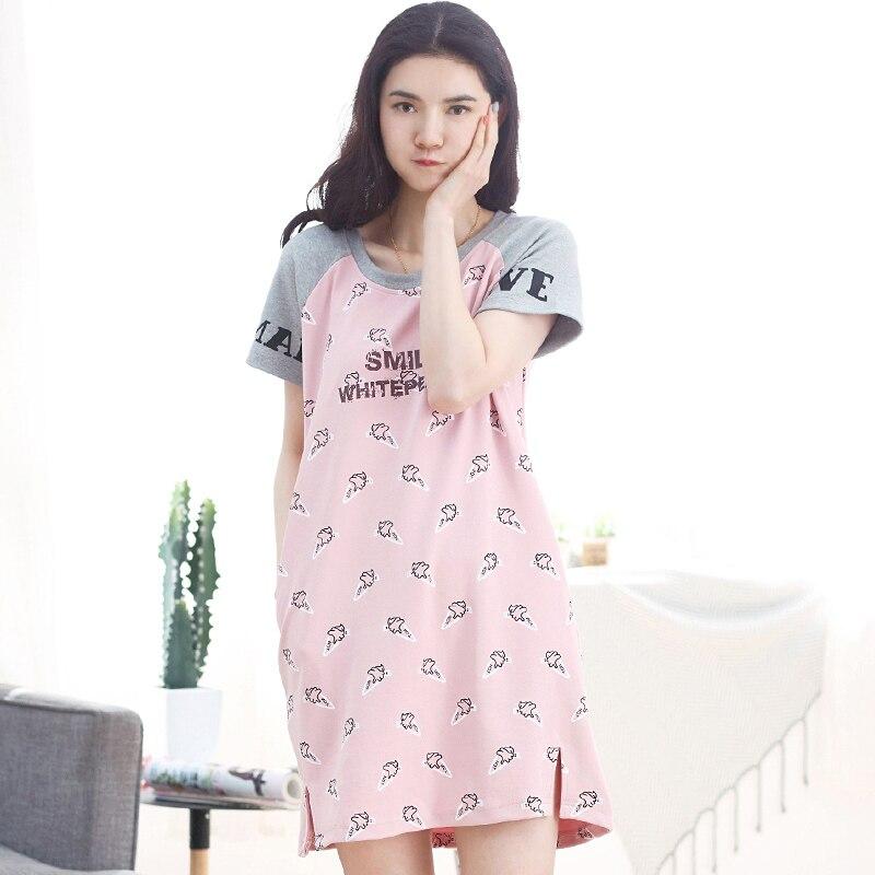 Hot Sale New Women Sexy Nightwear Plus Size M-XXL Short Sleeve Nightgown Sleepwear Dress Lovely Cartoon Sexy Lingerie Robe Sexy
