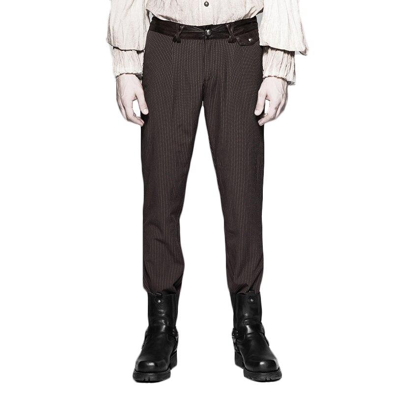 Popularité Punk rayure Simple décontracté vapeur Punk pantalon noir brun gothique Vintage hommes Long crayon pantalon Style ajusté